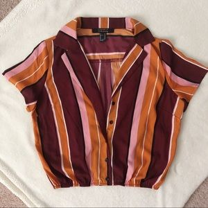 Forever 21 | Cropped Striped Color Block Blouse